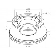 диск тормозной M2000088 377/230*45/159.5 8n-275-23 BPW SB3745