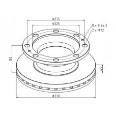 диск тормозной 85-00811-SX 378*150*45*225 ROR TM/LM/LMC DX195