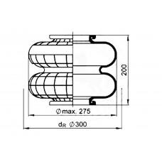 2B-250 (чулок) сильфон 2-х секционный DAF/MAN/BPW/Gigant/VDL