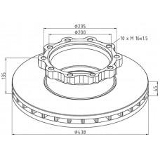 диск тормозной TBDS0035 438*45*135 (10n-235-M16*1,5) MAN