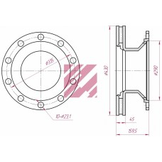 диск тормозной M2000091 430*45*159.5 BPW (23/2)