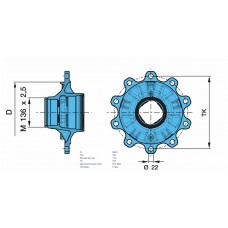 ступица 931408 (в комплекте с подшипниками) M136*2,5/10*Ø22 8-9t. SKHS../SKHZ.. BPW ECO Plus