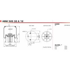 1DK22E13 пневморессора в сборе (2 шп.+возд. / 4 отв.8мм + 1шп. по центру 16мм ) SAF