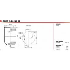 пневмоподушка без стакана 34911P 2шп.M12+M16 смещ.30 1шп-штуц.M16/24 1шп.M16  RVI Magnum