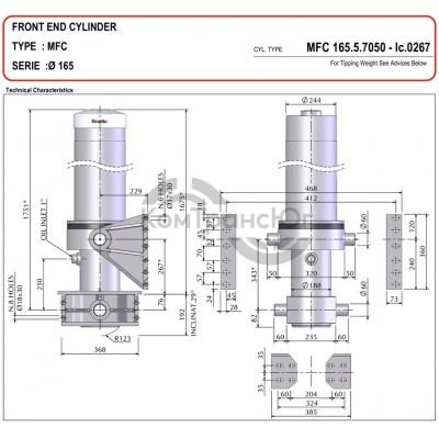 гидроцилиндр MFC-165/5/7075-D=323-A=235-P.d.60-Grey-(-50)-B3 Binotto